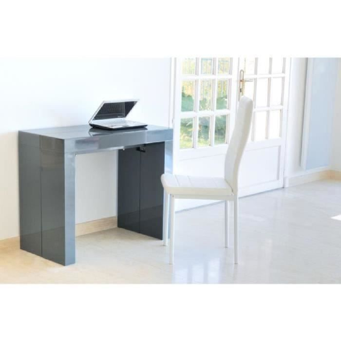 Zack table console extensible 225cm laqu e gris achat for Table extensible laquee