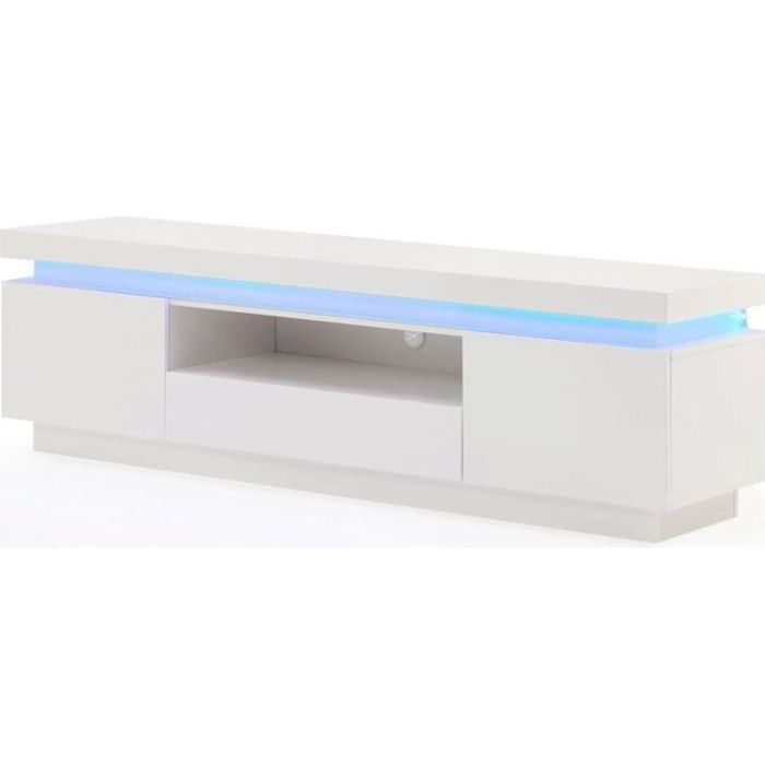 Flash meuble tv contemporain avec led laqu blanc brillant - Meuble bas tv blanc laque ...