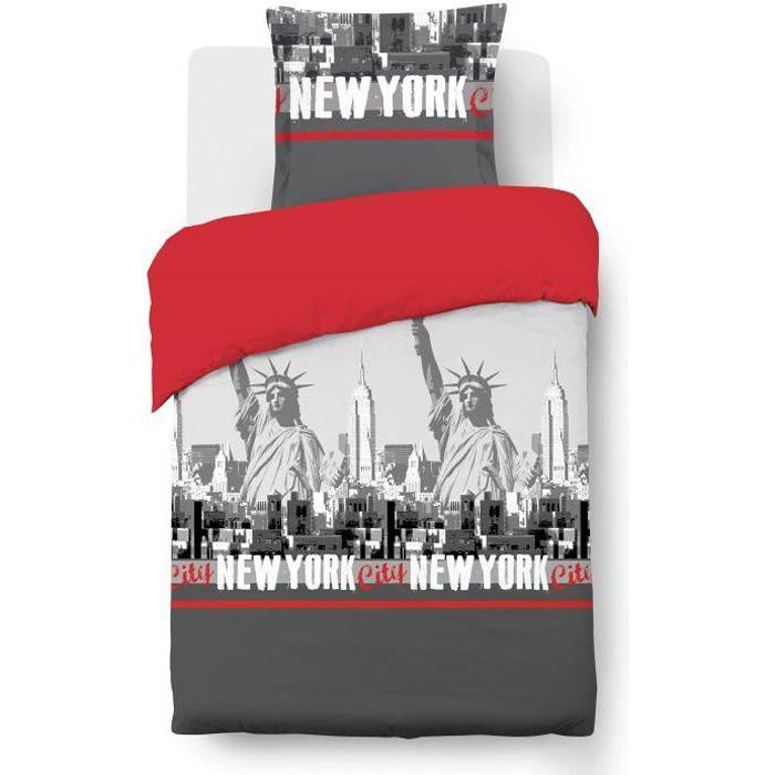 vision parure de couette new york 100 coton 1 housse de couette 140x200 cm 1 taie 65x65 cm. Black Bedroom Furniture Sets. Home Design Ideas