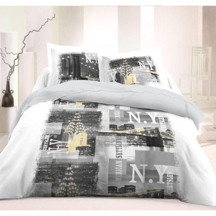 vision housse de couette new york gris 220x240cm achat. Black Bedroom Furniture Sets. Home Design Ideas
