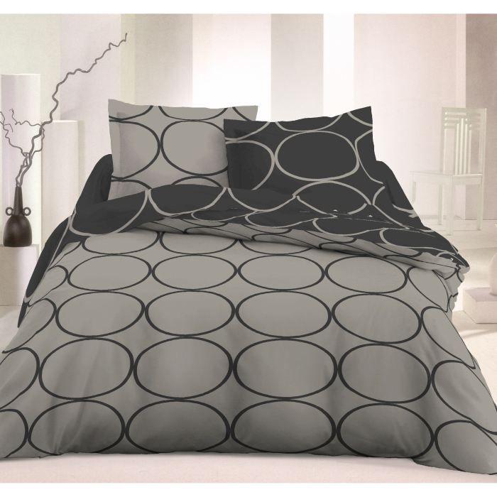 vision housse de couette rondo gris 220x240 achat vente parure de couette cdiscount. Black Bedroom Furniture Sets. Home Design Ideas
