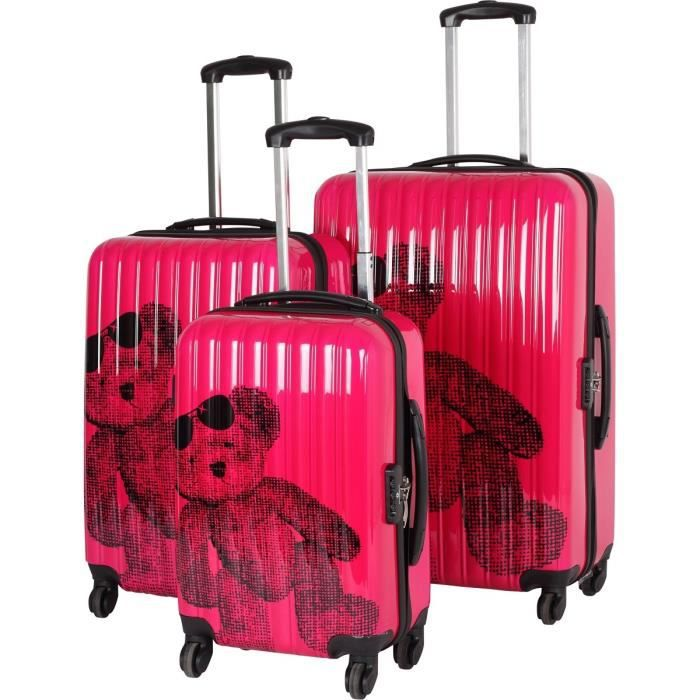 lulu castagnette 3 valises trolley 4 roues pap fuchsia. Black Bedroom Furniture Sets. Home Design Ideas