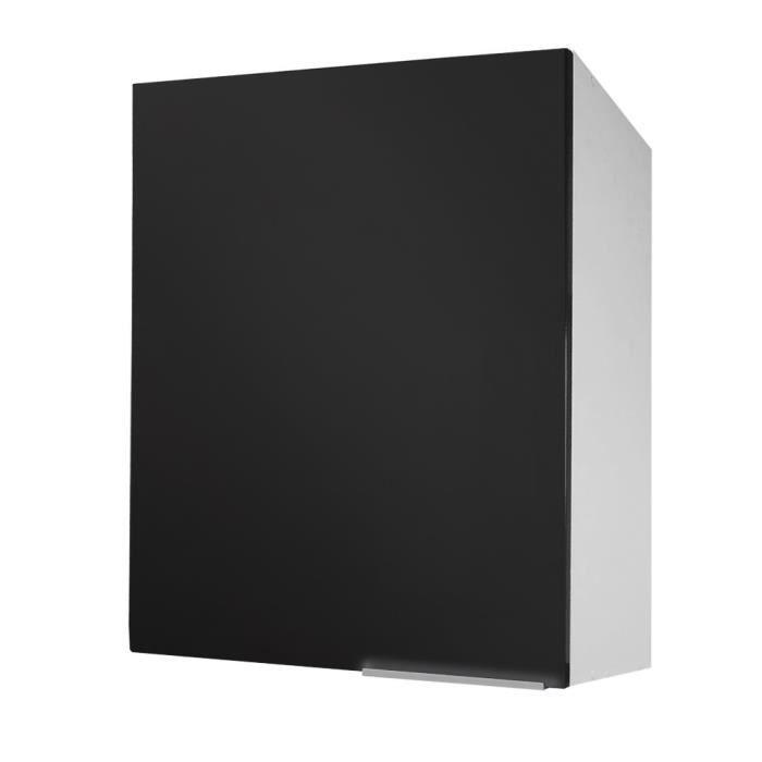 Caisson haut 1 porte 60 cm noir super mat achat for Porte bois 60 cm