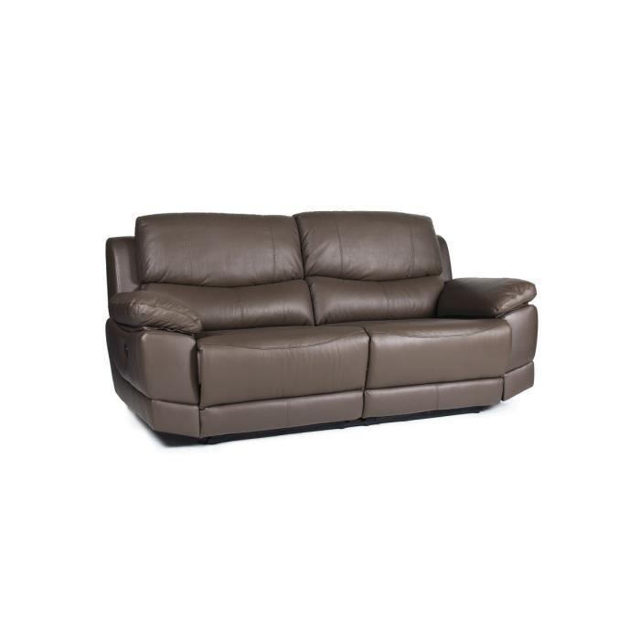 le mans canap droit de relaxation en cuir 3 places 210x98x97 cm chocolat achat vente. Black Bedroom Furniture Sets. Home Design Ideas