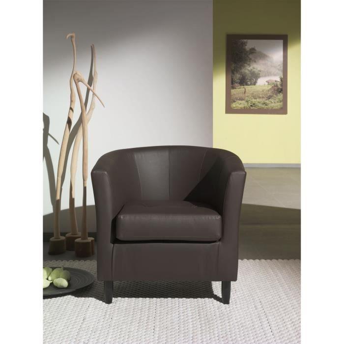 Orleans fauteuil en simili cabriolet chocolat achat vente fauteuil cd - Fauteuil cabriolet chocolat ...