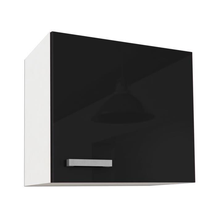 Start meuble haut de cuisine l 60 cm noir brillant for Element de cuisine noir brillant