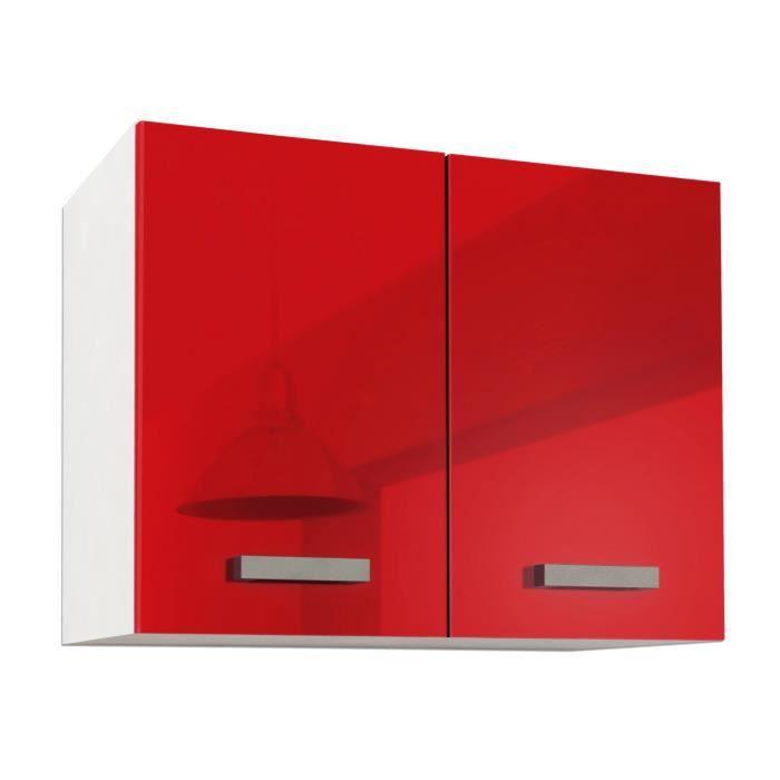 Start caisson haut de cuisine l 80 cm rouge haute - Caisson de cuisine haut ...