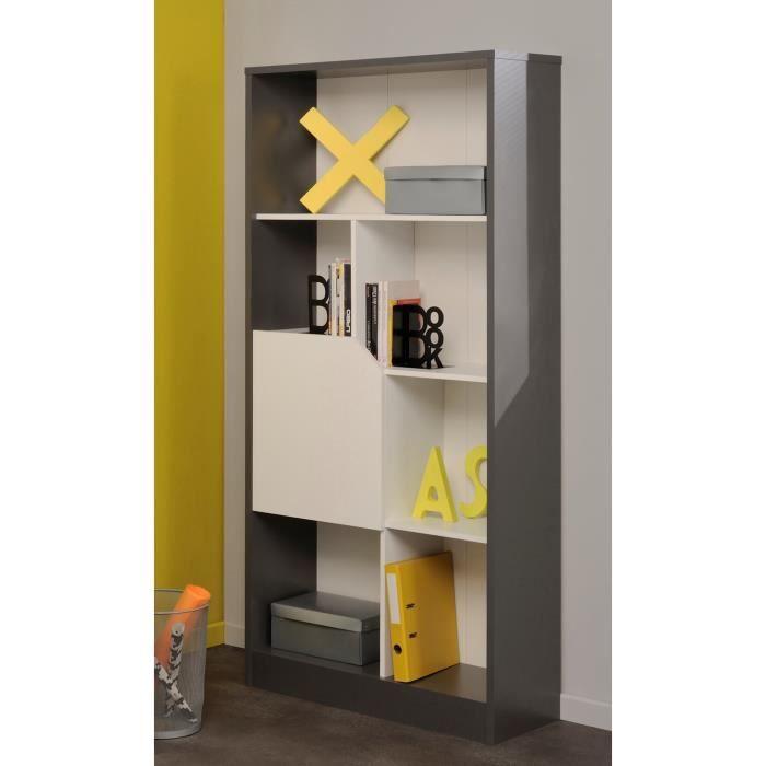 malice biblioth que 184cm gris et blanc achat vente biblioth que malice biblioth que 184cm. Black Bedroom Furniture Sets. Home Design Ideas