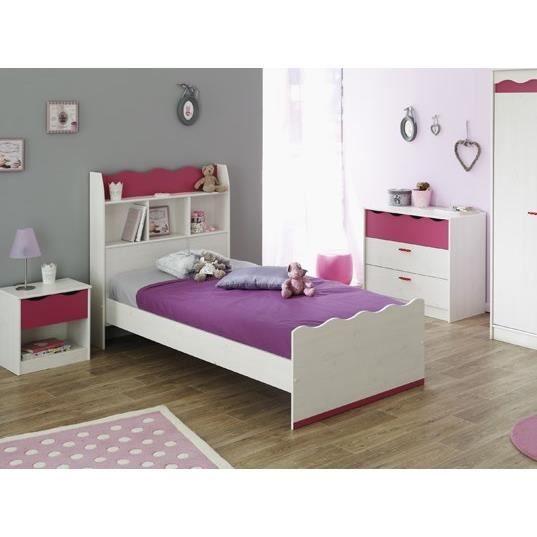 lilou lit enfant 90x200 college d cor ch ne blanc achat vente structure de lit lit 90x190. Black Bedroom Furniture Sets. Home Design Ideas