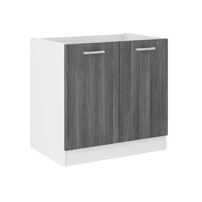 Ultra meuble bas sous vier 80 cm d cor ch ne gris for Evier pour meuble 50 cm