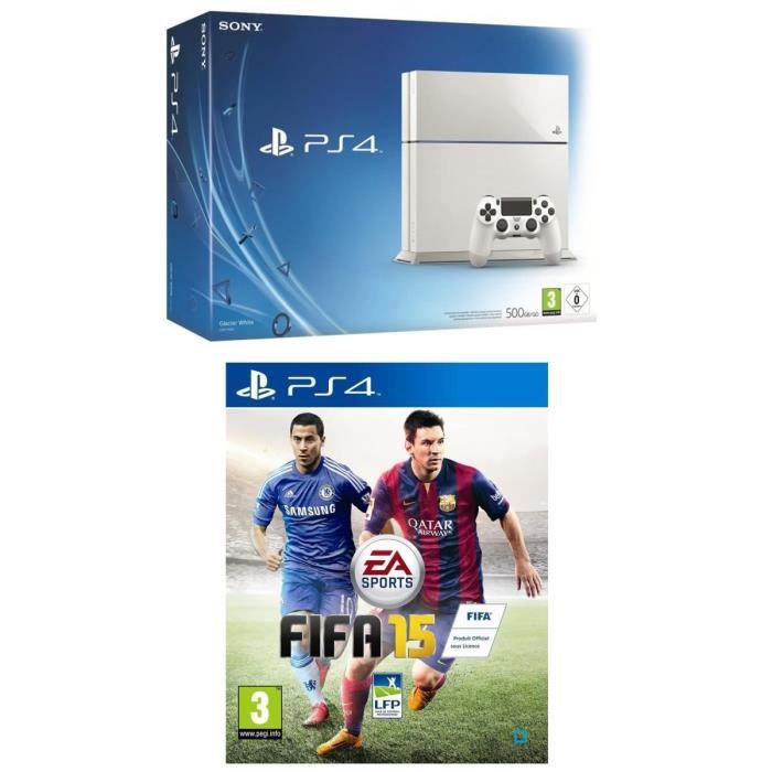 pack console ps4 500 go blanche jeu fifa 15 achat. Black Bedroom Furniture Sets. Home Design Ideas
