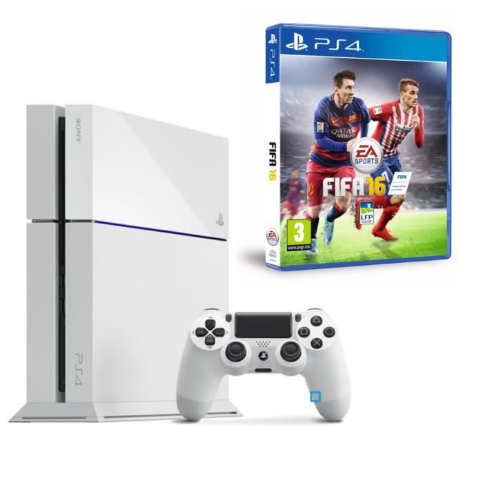 pack ps4 blanche fifa 16 achat vente console ps4. Black Bedroom Furniture Sets. Home Design Ideas