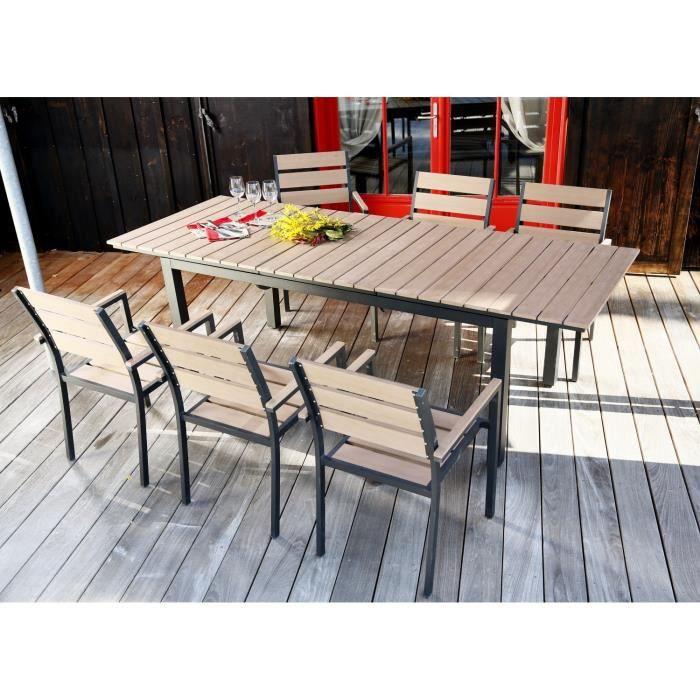 ensemble table extensible de jardin 180 240 cm 6. Black Bedroom Furniture Sets. Home Design Ideas