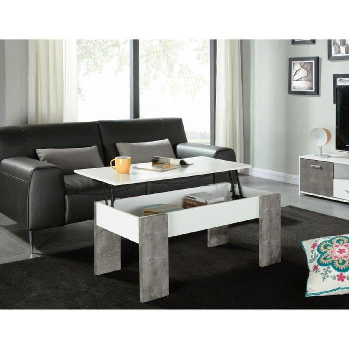 Basile table basse plateau relevable 100x50 cm blanc for Table basse plateau relevable but