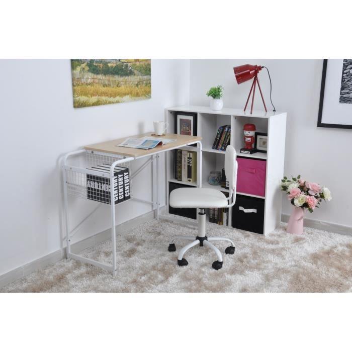 Abey bureau droit 100x45cm plateau verre m tal achat for Meuble bureau 30 cm