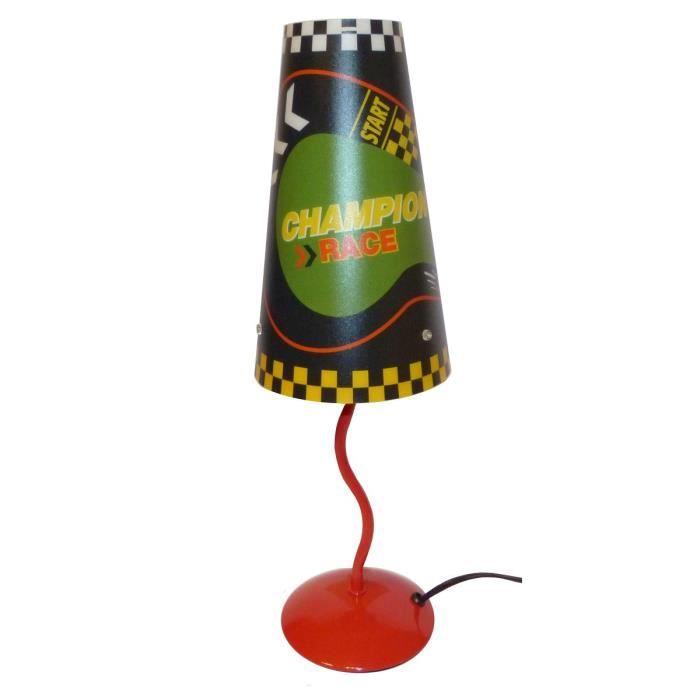 Lampe de chevet racing 25 w rouge noir et vert achat vente lampe de chev - Lampe de chevet noir et argent ...