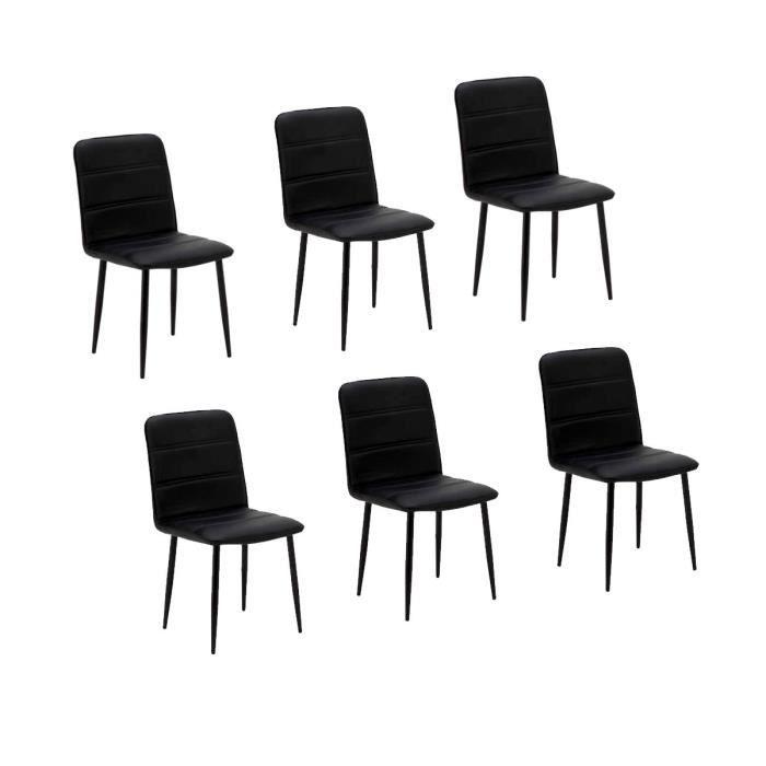 Diva lot de 6 chaises de salle manger noires achat vente chaise cdiscount - Lot de 6 chaises salle a manger ...