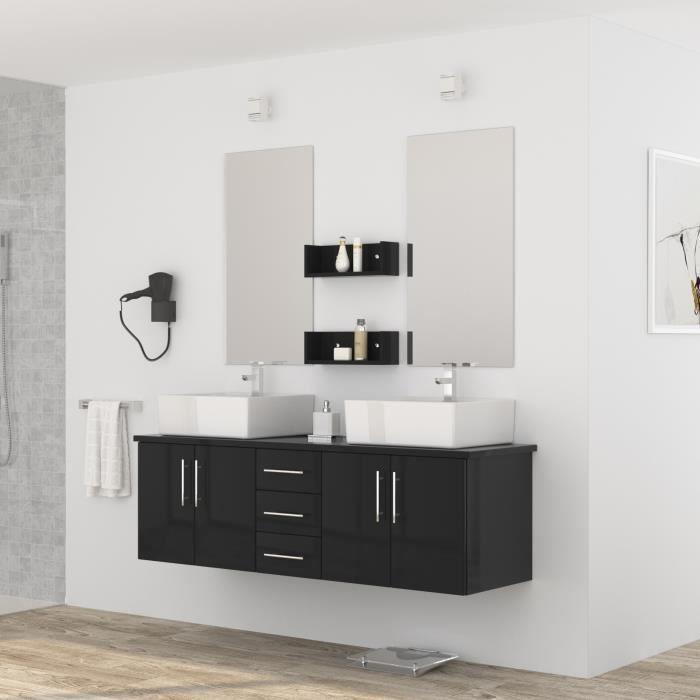 Diva salle de bain compl te double vasque 150 cm laqu noir brillant acha - Salle de bain complete ...