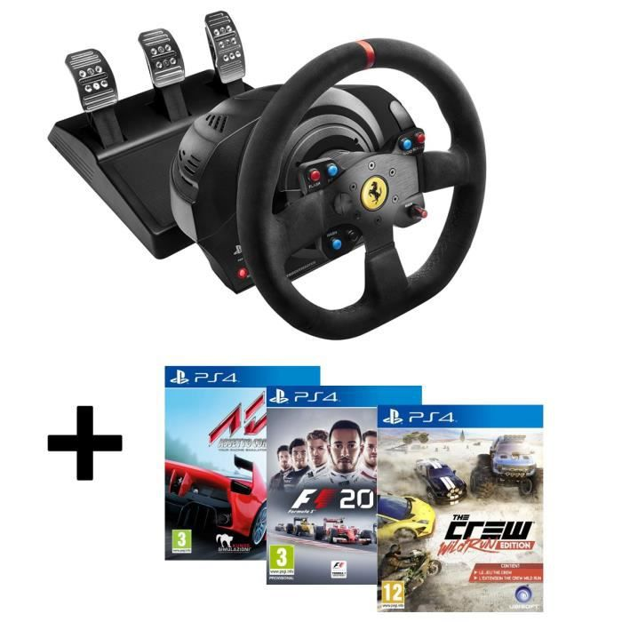 pack thrustmaster volant t300 ferrari alc ntara edition ps3 ps4 pc 3 jeux ps4 assetto. Black Bedroom Furniture Sets. Home Design Ideas