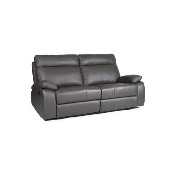 Normandie canap de relaxation 3 places cuir 198x96x99 cm gris acha - Canape relax cdiscount ...