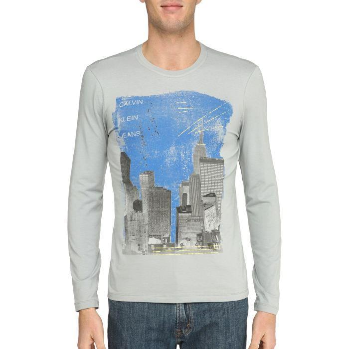 T-SHIRT CALVIN KLEIN JEANS T-Shirt Homme Gris clair et ...