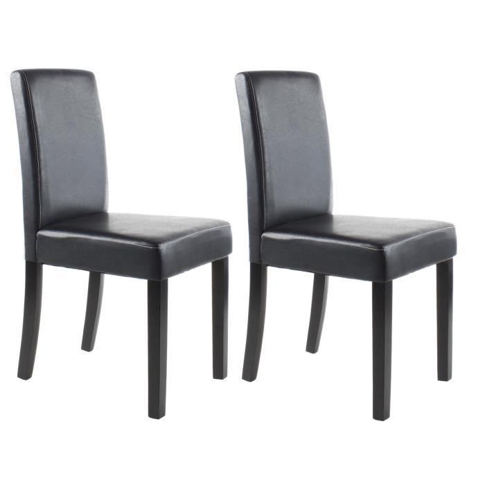 Clara lot de 2 chaises de salle manger en simili noir - Chaise de cuisine blanche pas cher ...