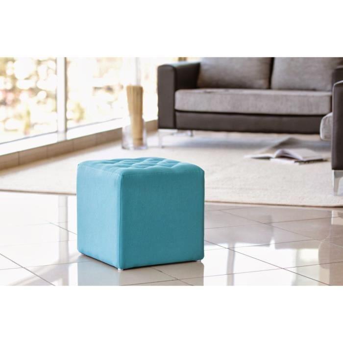 pouf carr effets capitonn s turquoise achat vente pouf poire soldes d hiver d s le 6. Black Bedroom Furniture Sets. Home Design Ideas