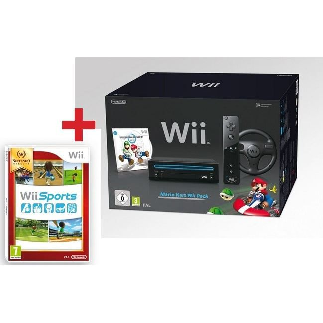 PACK WII NOIR MARIO KART + WII SPORTS SELECTS   Achat / Vente WII PACK