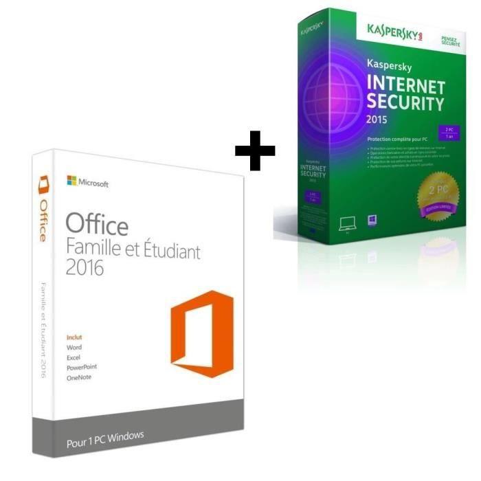 Office famille et etudiant 2016 1 pc kaspersky internet security 2015 2p 1an ed limi - Office famille et etudiant 2013 1 pc ...