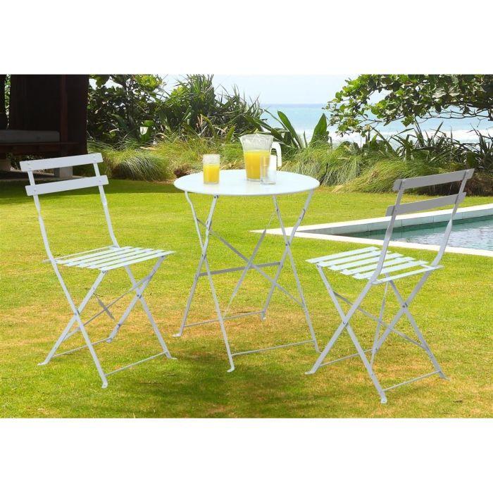 Lot de 2 chaises bistrot pliantes blanches achat vente for Table bistrot exterieur