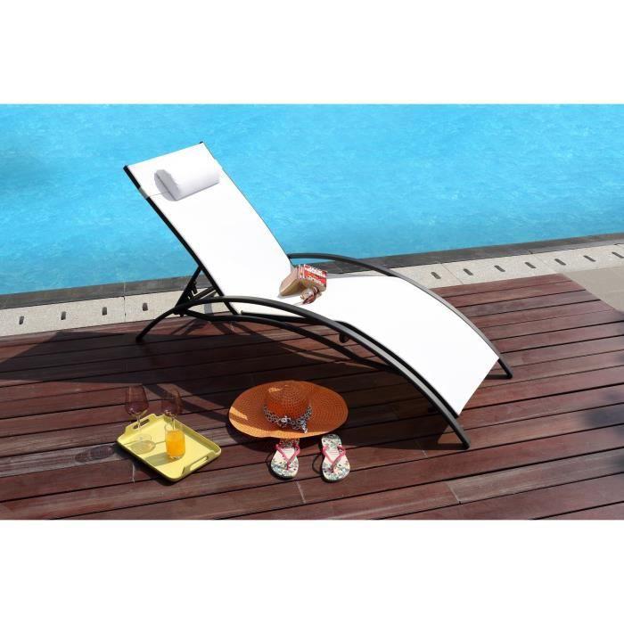 lot de 2 bains de soleil multiposition acier et textil ne. Black Bedroom Furniture Sets. Home Design Ideas