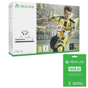 CONSOLE XBOX ONE Xbox One S 1 To FIFA 17 + Abo Live 3 mois