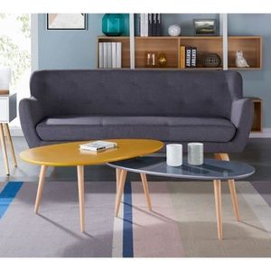 Meuble stone achat vente meuble stone pas cher cdiscount for Table basse scandinave moutarde