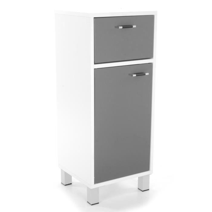 Meuble bas salle de bain 2 tiroirs gris achat vente for Meuble bas salle de bain