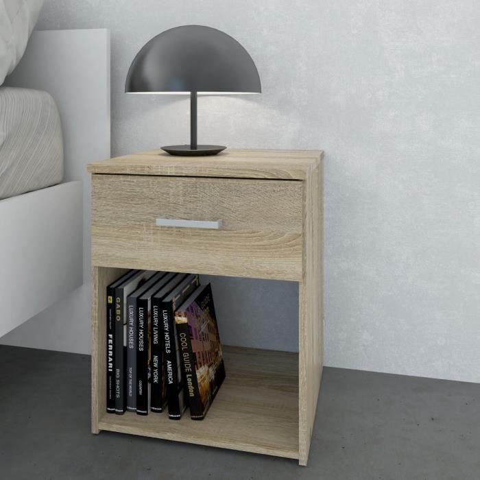 Space table de nuit 1 tiroir 37 cm ch ne structur for Table de nuit tiroir
