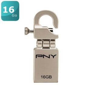 Cl� USB PNY MICROHOOK ATTACHE GRIS 16GO