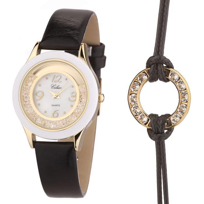 celsior montre et bracelet cristaux de swarovski femme noir chic achat vente pack montre. Black Bedroom Furniture Sets. Home Design Ideas