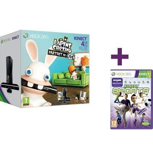 CONSOLE XBOX 360 XBOX 360 4Go KINECT LAPINS CRETINS + KINECT SPORTS