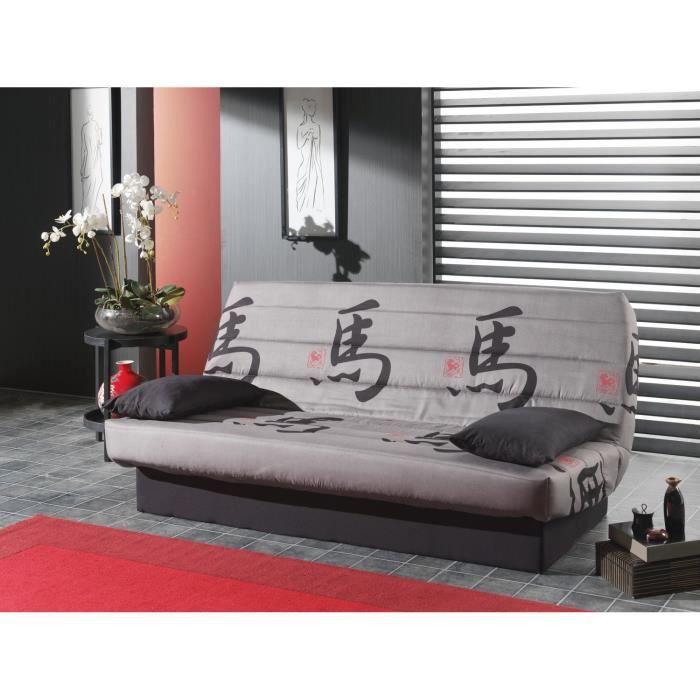 tokyo banquette clic clac 3 places 190x130x42 cm gris et noir achat vente clic clac. Black Bedroom Furniture Sets. Home Design Ideas