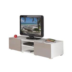 meuble tv blanc laque achat vente meuble tv blanc laque pas cher cdiscount. Black Bedroom Furniture Sets. Home Design Ideas