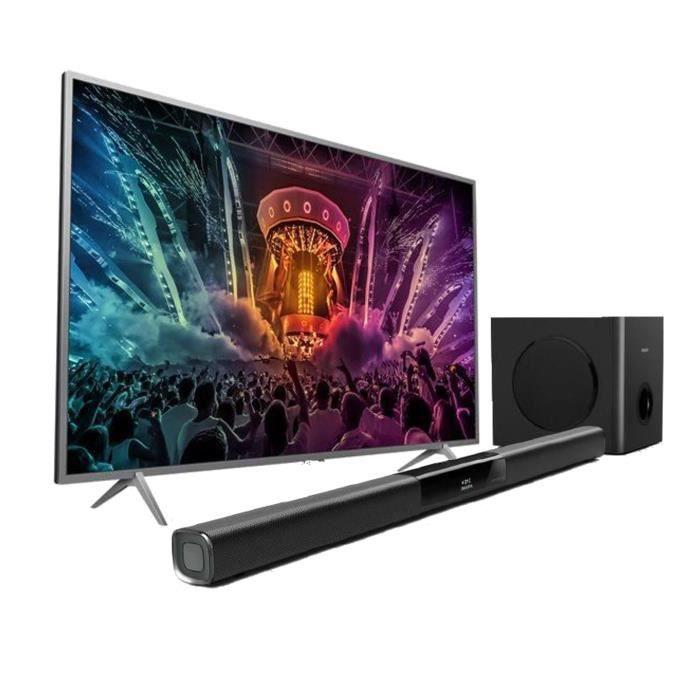pack philips tv led 43pus6401 ultra plat 4k 108cm 43. Black Bedroom Furniture Sets. Home Design Ideas
