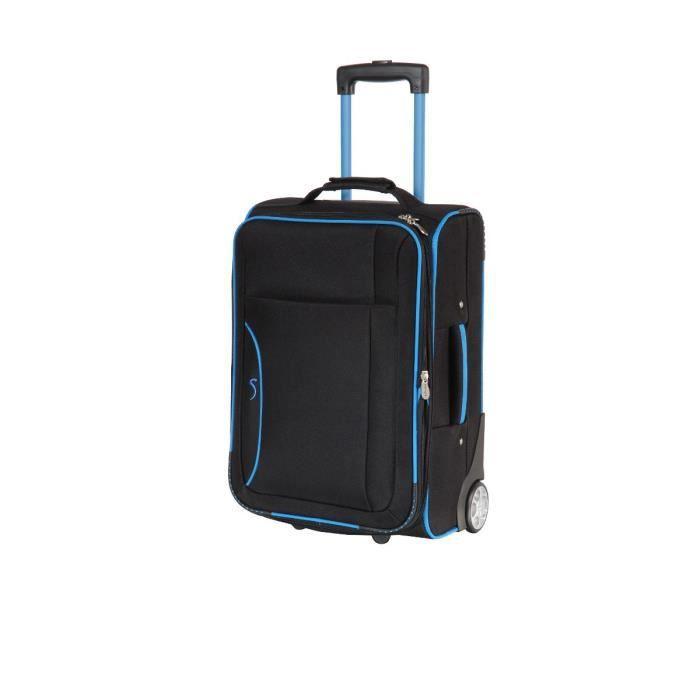 horizon valise trolley 2 roues cabine fashion 51cm noir et bleu achat vente valise bagage. Black Bedroom Furniture Sets. Home Design Ideas