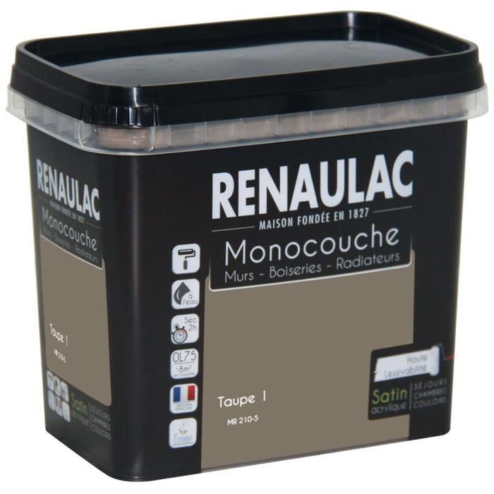 Peinture murale monocouche multi support 0 75 l taupe for Peinture murale taupe