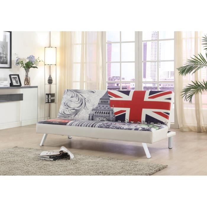 Lili banquette clic clac en simili flag 3 places 180x81x79 cm blanc ach - Clic clac en anglais ...