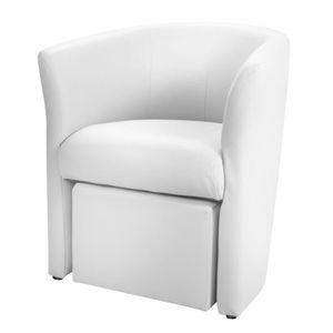 Fauteuil simili cuir blanc achat vente fauteuil simili cuir blanc pas che - Fauteuil club cuir blanc ...