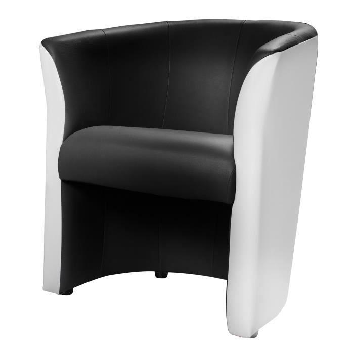 Baya fauteuil cabriolet noir blanc achat vente fauteuil pvc polyur thane - Fauteuil blanc conforama ...