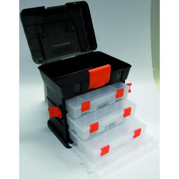 Boite outils plastique 4 compartiments vides achat - Malette rangement outils vide ...