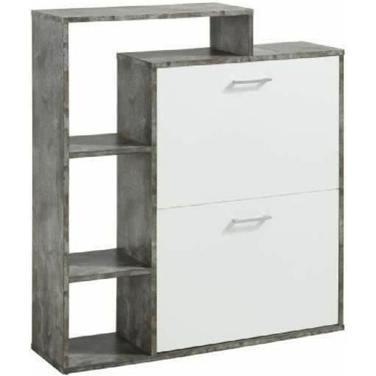 lily meuble chaussures 85 cm blanc et effet b ton achat vente meuble chaussures lily. Black Bedroom Furniture Sets. Home Design Ideas