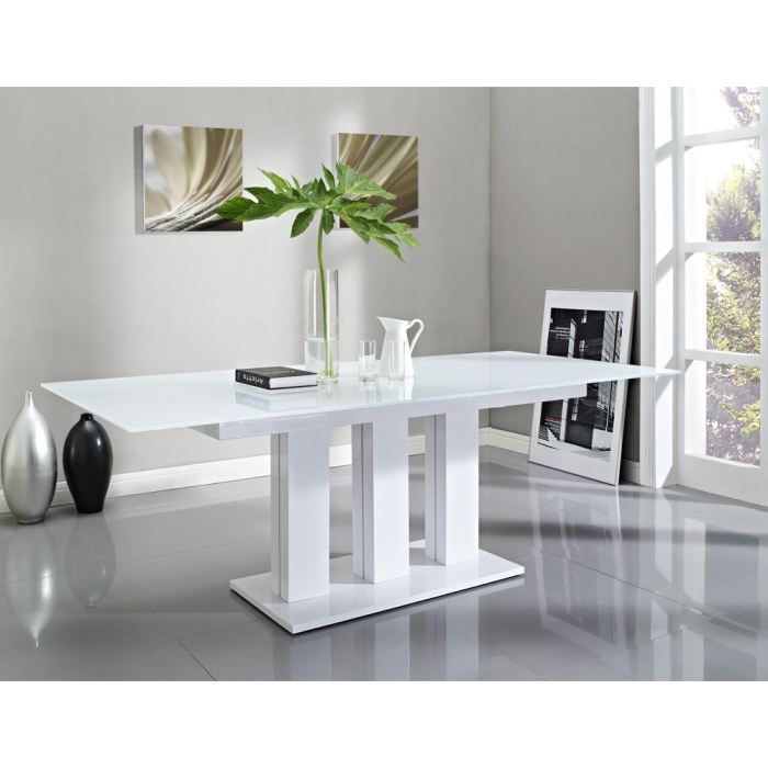 Table verre pied central blanc for Table salle a manger en verre extensible