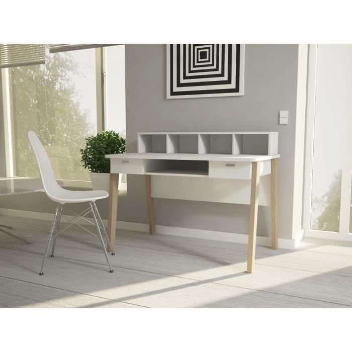 vica bureau scandinave 12 cm blanc et d cor ch ne achat vente bureau vica bureau 120cm. Black Bedroom Furniture Sets. Home Design Ideas